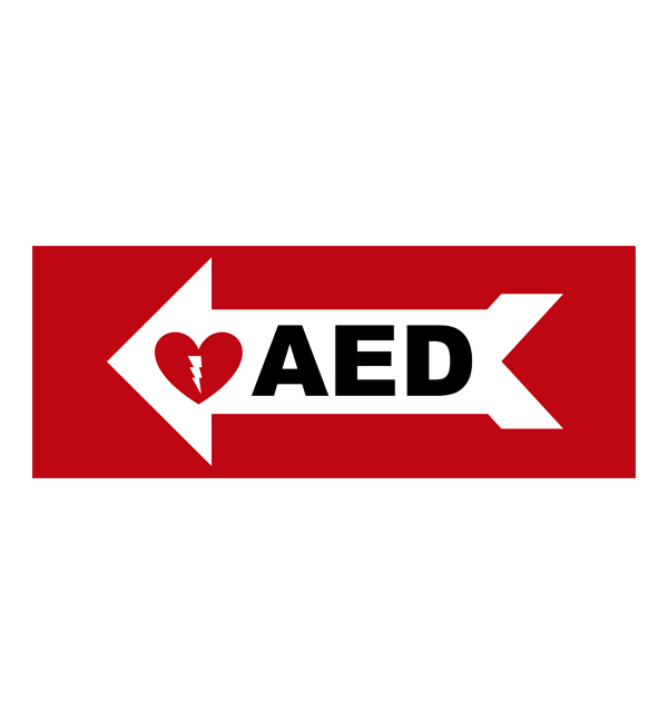 aed wall sign arrow left priority first aid img2