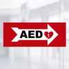 aed wall sign right arrow priority first aid