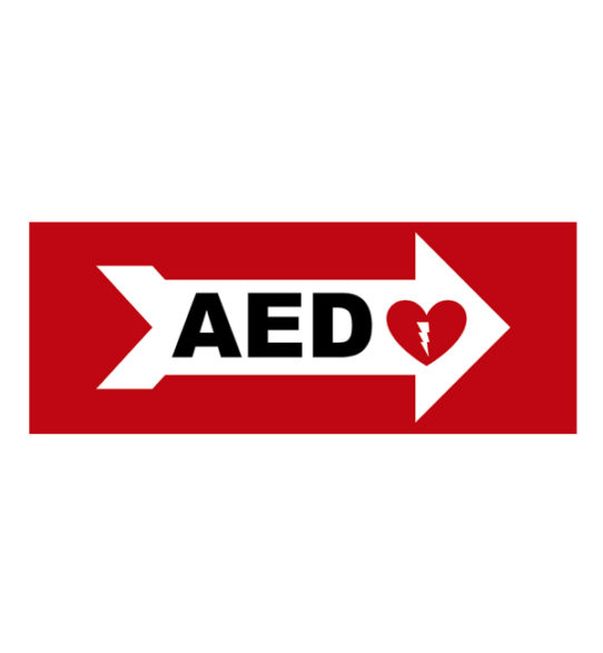 aed wall sign right arrow priority first aid img2