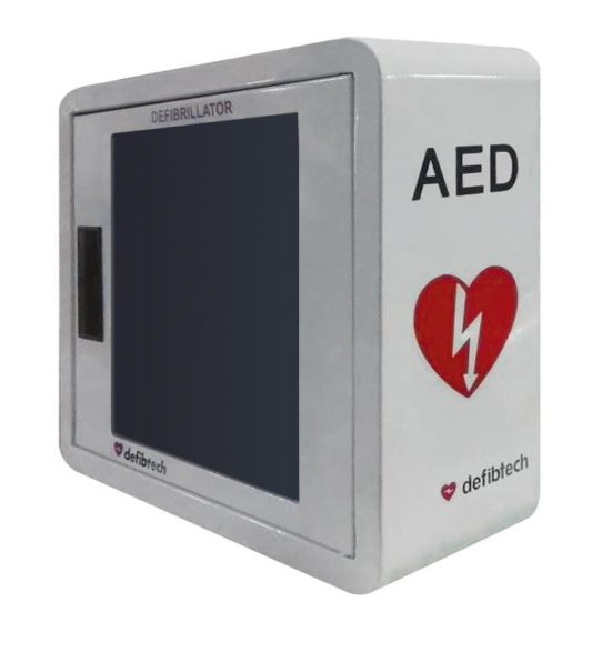 Defibtech wall cabinet alarmed Priority First Aid